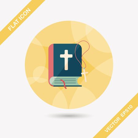 bible: bible flat icon with long shadow,eps10 Illustration