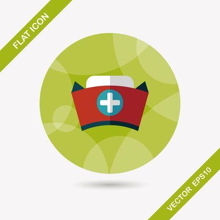 enfermera con cofia: icono plana sombrero de enfermera con una larga sombra, eps10 Vectores