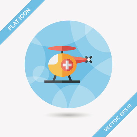 helicopter rescue: Medical helicopter flat icon with long shadow,eps10