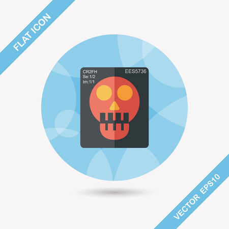 radiography: x-ray flat icon with long shadow,eps10