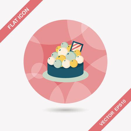 tarta: owoce tart płaskim ikona z długim cieniem, eps10 Ilustracja