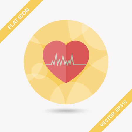 cardiograph: ECG flat icon with long shadow, eps10