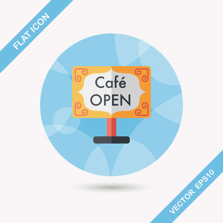 coffeeshop: Coffee shop signs flat icon with long shadow,eps10