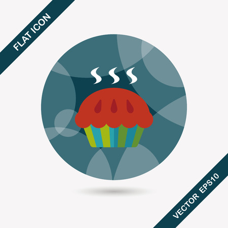 snack time: pie flat icon with long shadow,eps10 Illustration