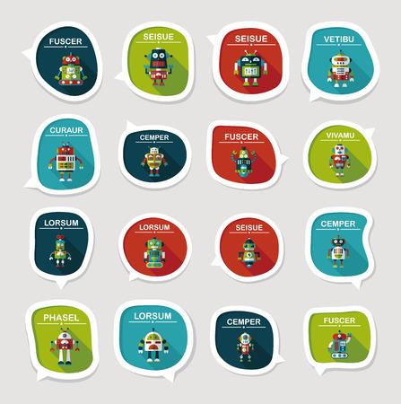 bubble background: concetto robot speech bubble piatto fondo, eps10 Vettoriali
