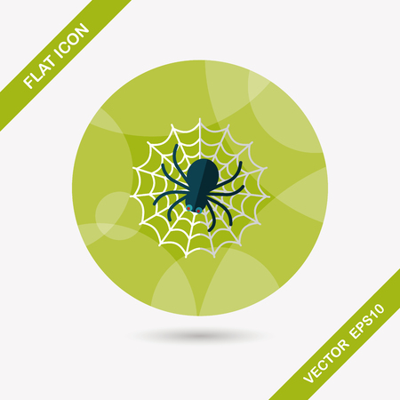 Halloween Spider flat icon with long shadow,eps10 Vector