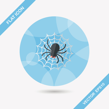 sacrifice: Halloween Spider flat icon with long shadow,eps10
