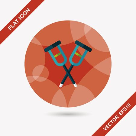 crutch: Crutch flat icon with long shadow,eps10 Illustration