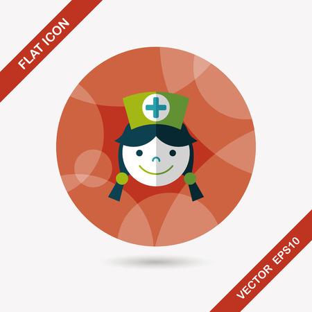 home care nurse: Medical nurse flat icon with long shadow,eps10
