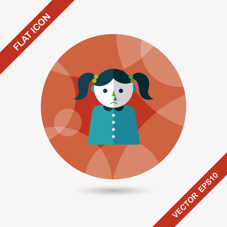 allergenic: dripping nose flat icon with long shadow,eps10