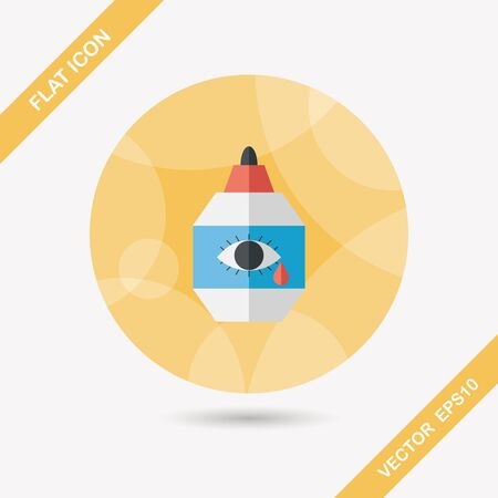 corrective: Eye Drop flat icon with long shadow,eps10