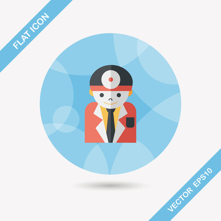surgeon mask: medical people with stethoscopes flat icon with long shadow,eps10