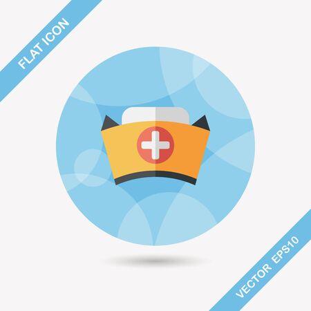medical headwear: nurse hat flat icon with long shadow,eps10 Illustration