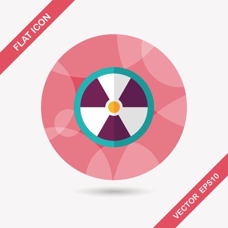 uranium radioactivity: Radiation flat icon with long shadow,eps10 Illustration