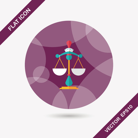 ungleichgewicht: Balancieren Flach Symbol mit langen Schatten, eps10