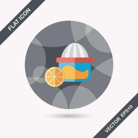 juicer: kitchenware juicer flat icon with long shadow,eps10 Illustration