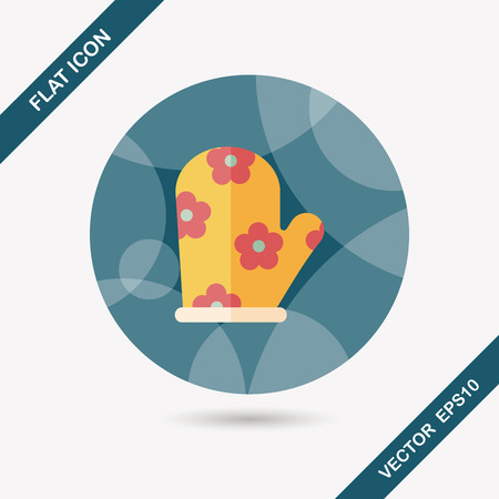 mitts: kitchenware oven mitts flat icon with long shadow,eps10 Illustration