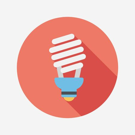 Environmental protection concept flat icon with long shadow,eps10; Saving energy, turning off lights