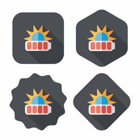 Environmental protection concept flat icon with long shadow,eps10; solar energy; saving energy Vector