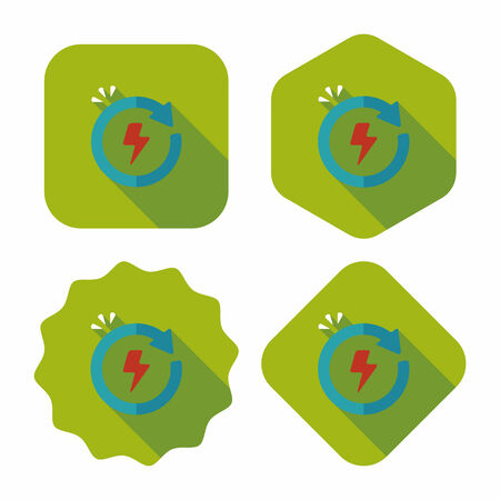 or recycled: Environmental protection concept flat icon with long shadow,eps10; Renewable energy; Recycled energy