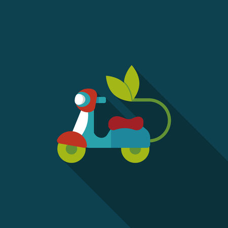 reduce reutiliza recicla: Concepto de protecci�n del medio ambiente icono plana con una larga sombra, eps10; Reducir en una motocicleta, reducir la contaminaci�n del aire Vectores
