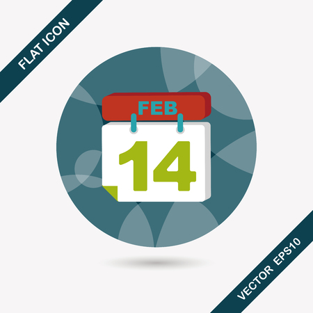 number 14: Valentines Day February fourteen flat icon with long shadow,eps10 Illustration