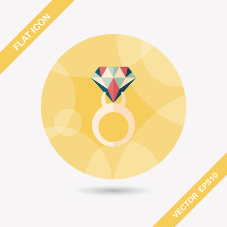 zaproponować: Propose diamond ring flat icon with long shadow,eps10