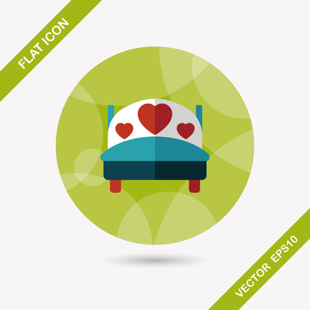 couple in bed: wedding couple bed flat icon with long shadow,eps10