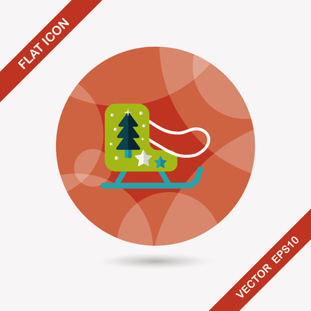 Christmas sleigh flat icon with long shadow,eps10 Vector