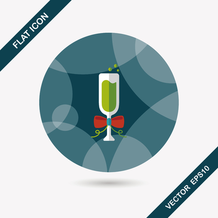 liqueur labels: Champaign flat icon with long shadow, eps10