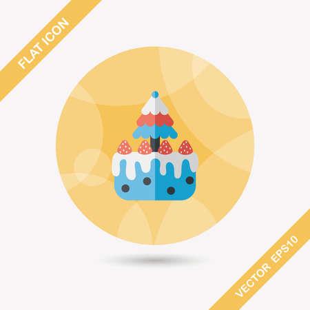 christmas cake: Christmas cake flat icon with long shadow,eps10
