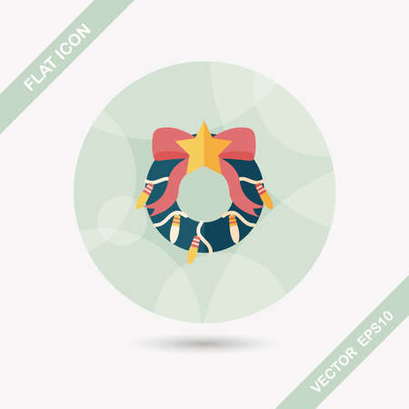 Christmas Holly Wreath flat icon with long shadow,eps10 Vector