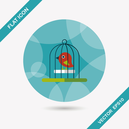 bird cage: Pet bird cage flat icon with long shadow, eps10
