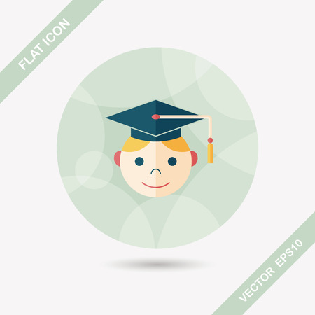 the alumnus: Graduation Man flat icon with long shadow,eps10