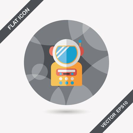 Space Astronaut flat icon with long shadow, eps10 Vector