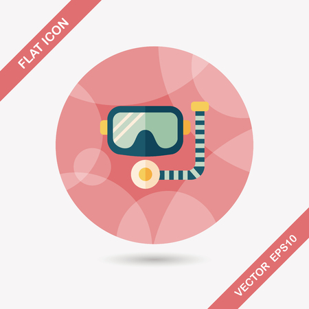 snorkel: Mask and snorkel flat icon with long shadow, eps10