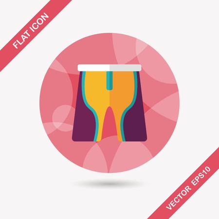 shorts: cycling shorts flat icon with long shadow,eps10