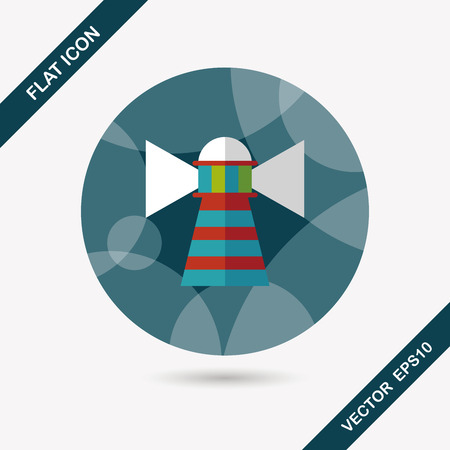 coast guard: Lighthouse flat icon with long shadow,eps10
