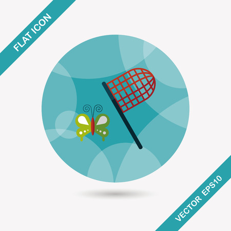 entomology: butterfly net flat icon with long shadow,eps10
