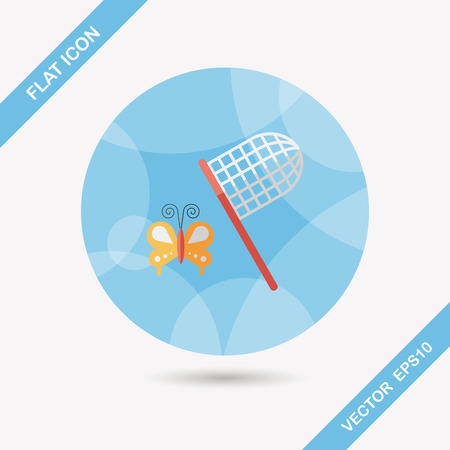 butterfly net flat icon with long shadow,eps10 Vector