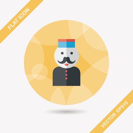 bellhop: Hotel bellhop flat icon with long shadow,eps10