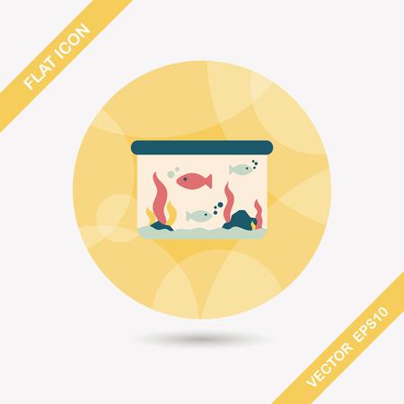 goldenfish: Pet fish flat icon with long shadow,eps10 Illustration