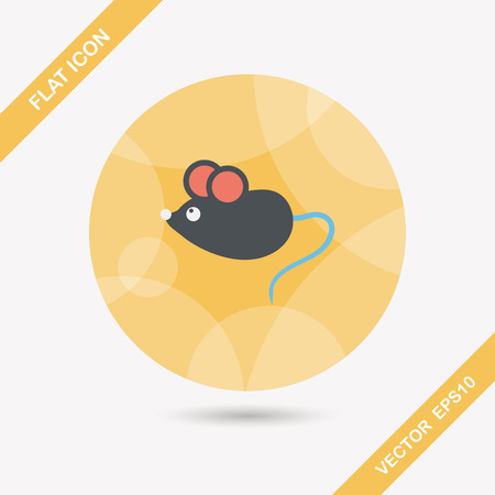 Pet mouse flat icon with long shadow,eps10 Ilustrace