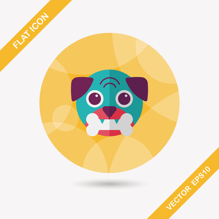 guid: Pet dog flat icon with long shadow,eps10