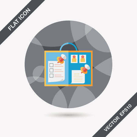 message board flat icon with long shadow,eps10 Vector