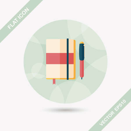 periodicals: notebook flat icon with long shadow,eps10 Illustration