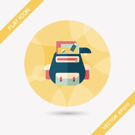 student travel: backpack flat icon with long shadow,eps10