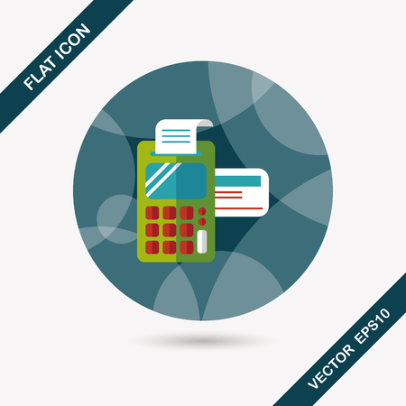 cardreader: Shopping credit card machine flat icon with long shadow,eps10