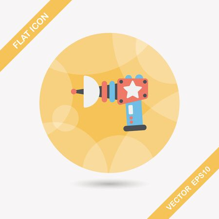 Space gun flat icon with long shadow,eps10 Vector