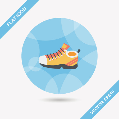 shoelaces: sneaker flat icon with long shadow,eps10